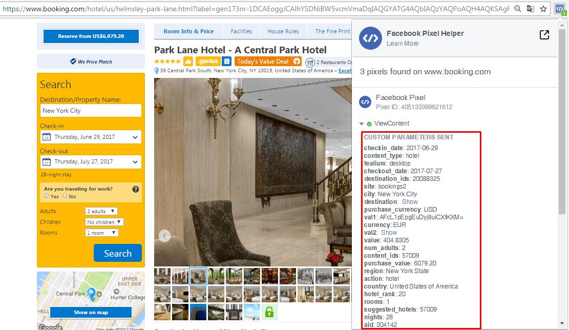 Pixel helper at Booking.com